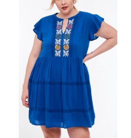 Where It Started Embroidered Ruffed Dress - Royal Blue