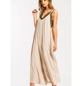 Steal The Night Spaghetti Strap Culotte Woven Jumpsuit - Taupe