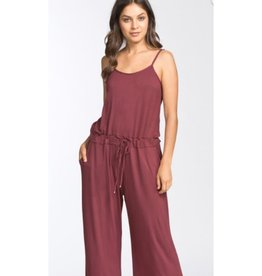 Tide Will Turn Spaghetti Strap Long Culotte Knit Jumpsuit - Red Brown
