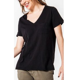 Day by Day V-Neck Top With Pocket - Black