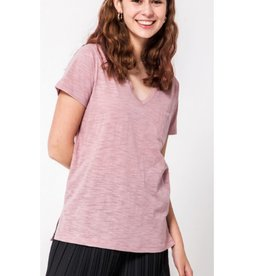 Day by Day V-Neck Top With Pocket -Dusty Pink