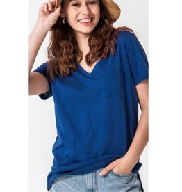 Day by Day V-Neck Top With Pocket - Snorkel Blue