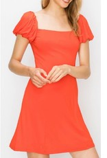 String Along Square Neck Puff Sleeve Skater Dress - Tamato
