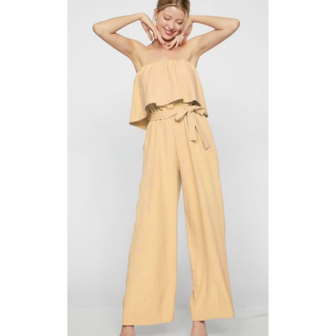 Hard To Forget Tube Top Waist Tie Jumpsuit - Banana