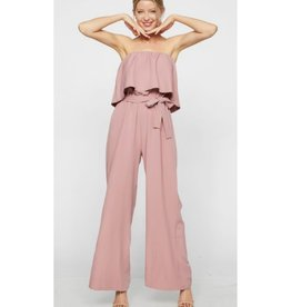 Hard To Forget Tube Top Waist Tie Jumpsuit - Mauve