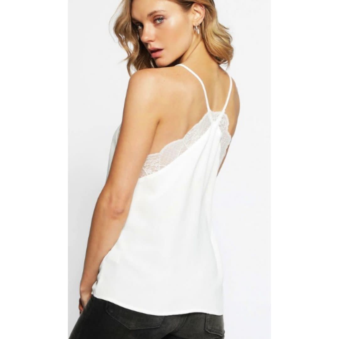 Bonus Time Lace Cami Solid Tank Top - Off White