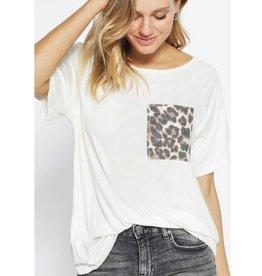 Flip SIde Loose Fit Leopard Pocket Knit Raglan Top - Off White