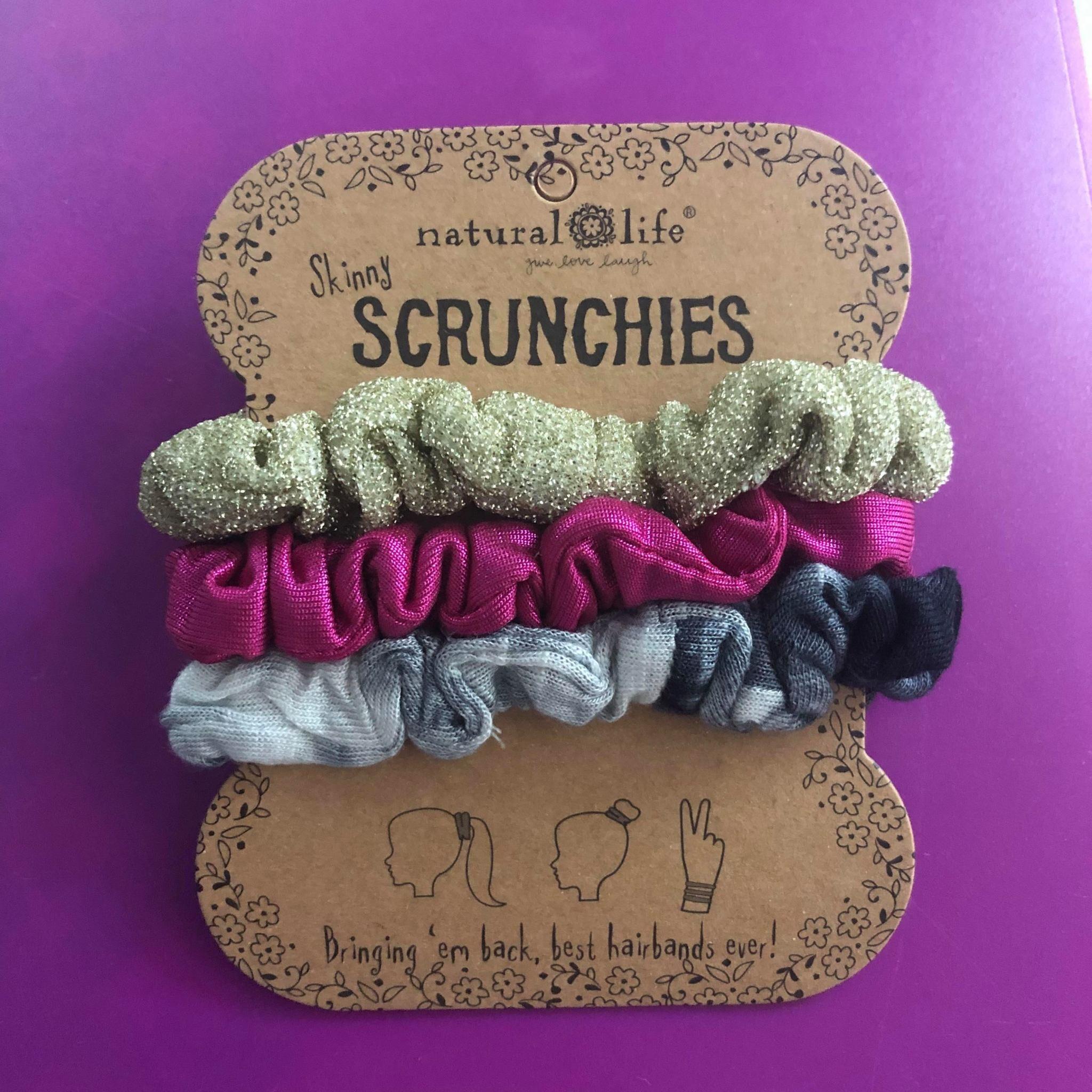 Skinny Scrunchie Set - White Black TD Gold