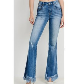Road Trip Contrast Washed Frayed Flare Jeans - Medium Wash