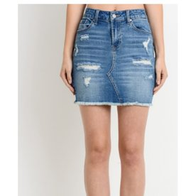 Forever Summer Distressed Denim Mini Skirt - Medium Wash