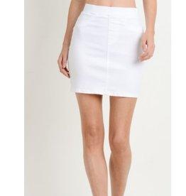 New Traditions Elastic Band Mini Skirt - White