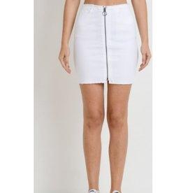 Spring Haze Zipper Front Raw Edge Skirt -White