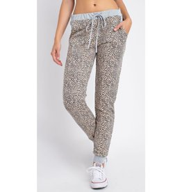 One Day Waking Up Animal Print Jogger Pants - Leopard