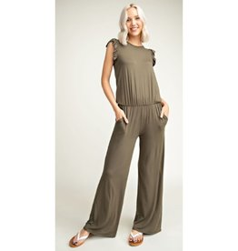 The Truth About Love Sleeveless Jumpsuit - Olive