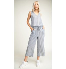 Must Be Dreaming Striped Woven Sleeveless Jumpsuit - Ivory/Navy