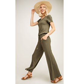 Be The End Short Sleeve Jumpsuit - Olive