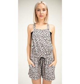 Fill Your Heart Leopard Print Square Romper - Taupe