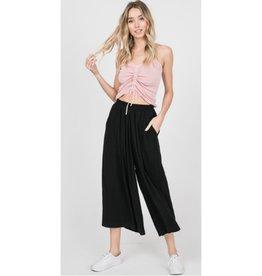 Let Your Hair Down Linen Pants - Black