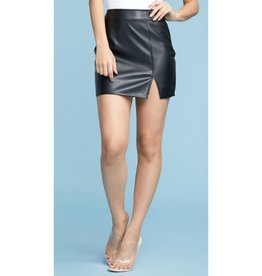 Piece Of Your Heart Slit Leather Skirt - Black