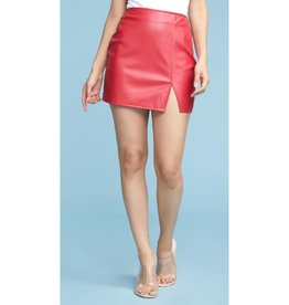 Piece Of Your Heart Slit Leather Skirt - Red