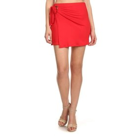 Counting On You Solid Wrap Mini Skirt - Red