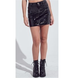 One Thing Right Leather Mini Skirt - Black