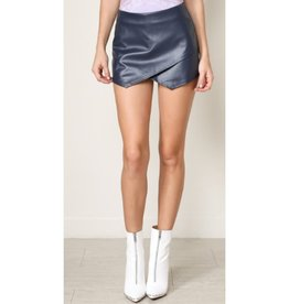Time To Flow Leather Skort - Navy