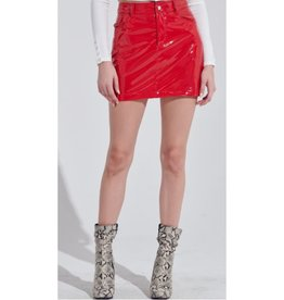 One Thing Right Leather Mini Skirt - Red