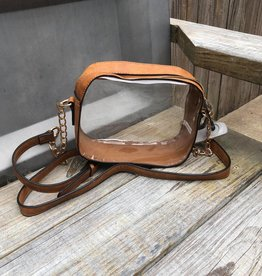Hey Baby - Clear Tan Purse With Gold Chain