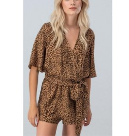 Bask The Sun Cheetah Print Half Sleeve Surplice Romper - Brown