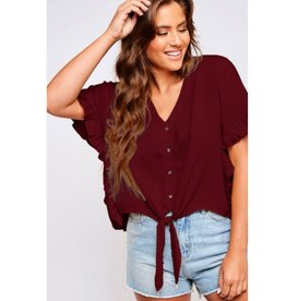 Fire Buring Button-Down Tie-Front Top Ruffled Hem - Maroon