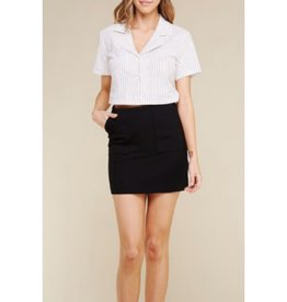 Back To You Cotton Stretch Twill Skirt With Pockets - Black