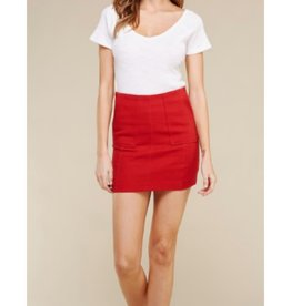 Back To You Cotton Stretch Twill Skirt With Pockets - Red