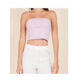 Want And Need Button Front Knit Tube Top - Lavender