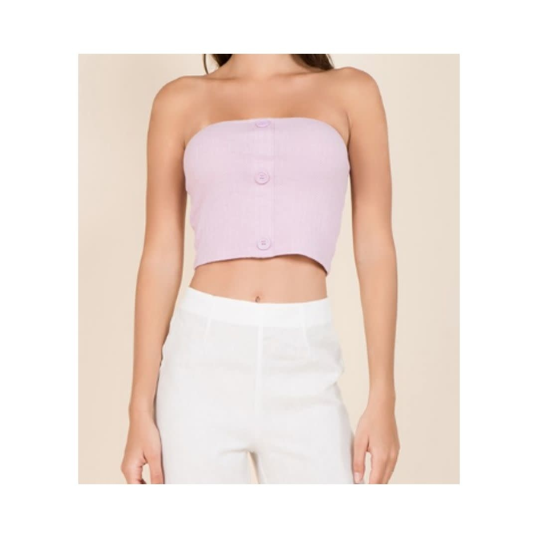 Miss Love Want And Need Button Front Knit Tube Top - Lavender