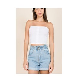 Want And Need Button Front Knit Tube Top - White