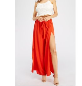 Looks So Good Flowy Belted Palazzo Pants - Red
