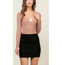 Never Worry Twill Mini Skirt With Back Zipper - Black