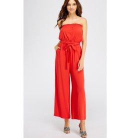Your A Star Off Shoulder Belted Jumpsuit - Red