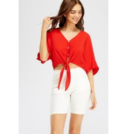 Let Me Love You Button Down Crop Top Front Tie - Red