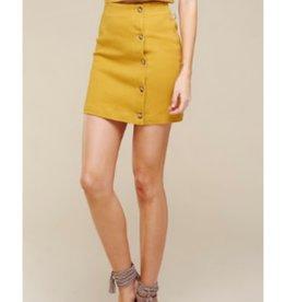 I'm Stuck On You Button Down Cotton Twill Mini Skirt - Mustard