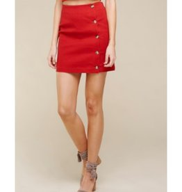 I'm Stuck On You Button Down Cotton Twill Mini Skirt - Red