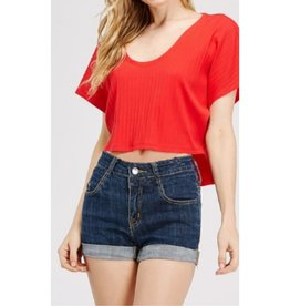 Know About Us Knit Rib Hi-Low  Crop Tee - Red