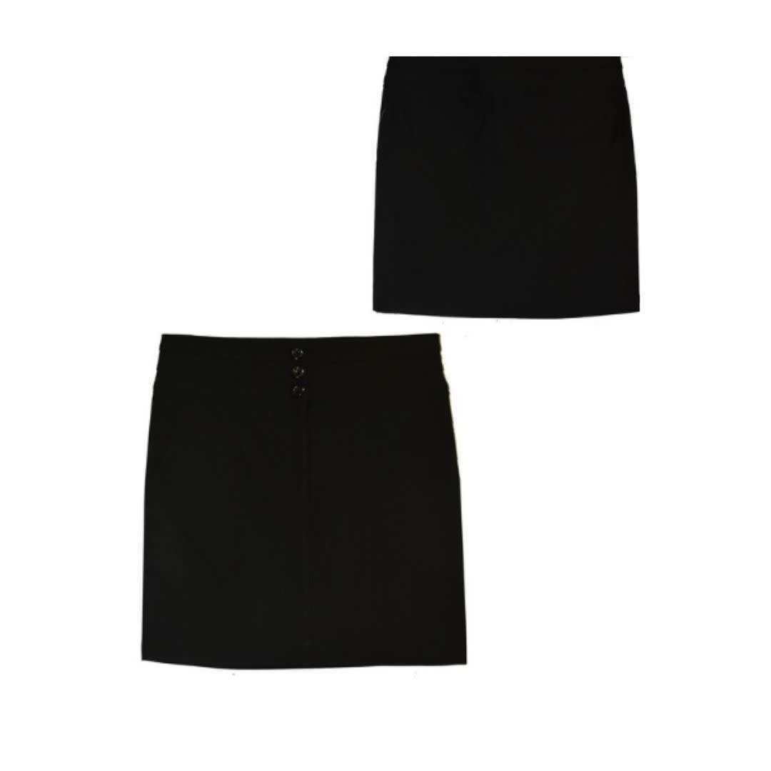 Watch Me Bloom Triple Button Pencil Skirt - Black