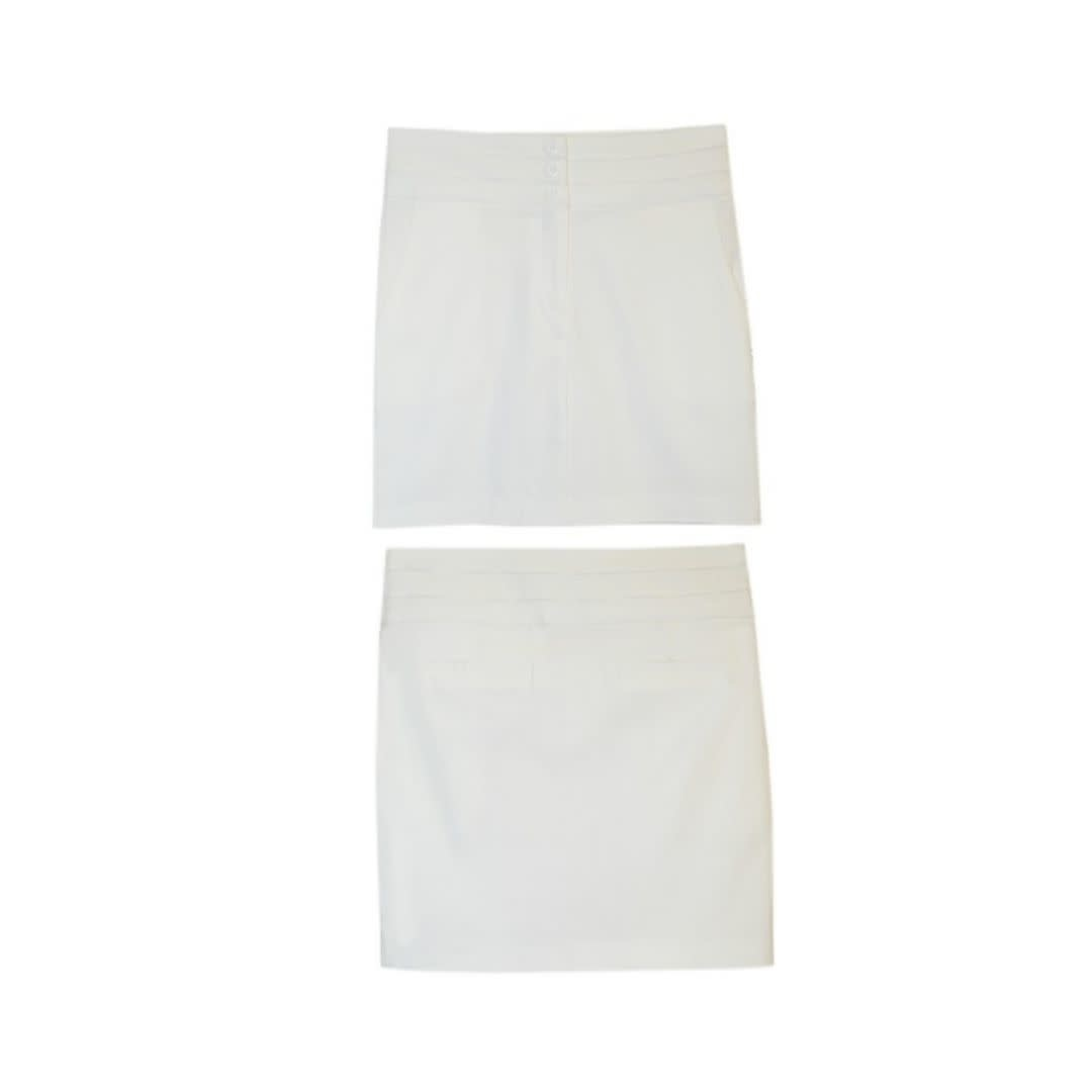 Watch Me Bloom Triple Button Pencil Skirt - Ivory