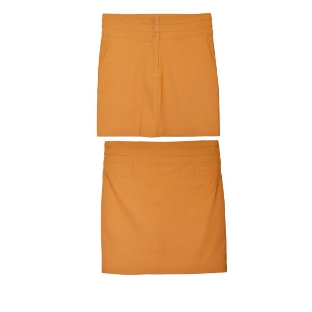 Watch Me Bloom Triple Button Pencil Skirt - Mustard
