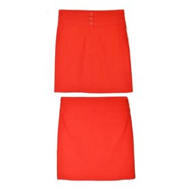 Watch Me Bloom Triple Button Pencil Skirt - Tomato Red
