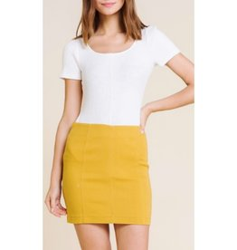 Never Worry Twill Mini Skirt With Back Zipper - Mustard