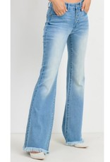Exotic Lands Button Down Flare Jeans With Fringe - Light Wash