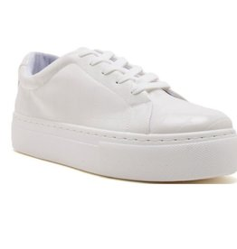 Everyday We Lit Lace Up Platform Sneakers - White Croco